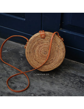 Handwoven Round Rattan Beach Bag Bali   Natural Ata Grass Shoulder Bag With Round Pattern by Etsy