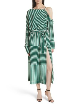 Stripe Silk Cold Shoulder Dress by Robert Rodriguez