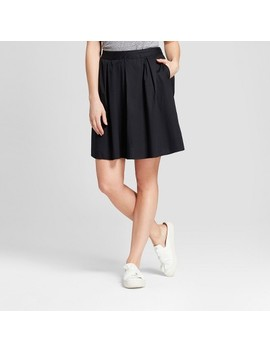 Women's Poplin A Line Skirt   A New Day™ Black by A New Day™