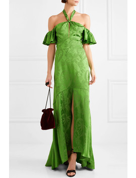 Orbit Off The Shoulder Satin Jacquard Gown by Temperley London
