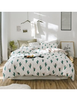 On Sale Fresh Cactus Print Queen Duvet Cover Set Cotton Kids Girls Bedding Set 3 Piece Reversible Teens Children Bedding Collection Lightweight Summer Duvet Comforter Cover Set Full Queen by Life Tb