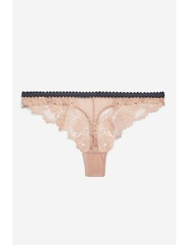 Nude Lace Thong by Topshop