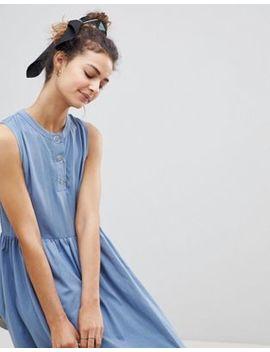 Asos Woven Mix Midi Sleeveless Smock Dress With Button Placket by Asos Design