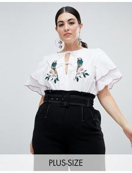 Fashion Union Plus Tie Neck Blouse With Layered Sleeves And Parrot Embroidery by Fashion Union