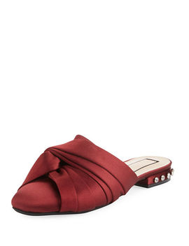 Satin Knotted Flat Mule by No. 21