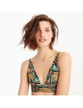 Deep V Neck French Bikini Top In Dryad Palms Print by J.Crew