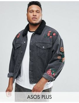 Asos Plus Denim Jacket With Embroidery & Borg Collar In Black Wash by Asos