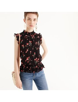 Sleeveless Smocked Top In Red Bouquet by J.Crew