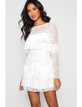 Boutique Caitriona Lace Ruffle Skater Dress by Boohoo
