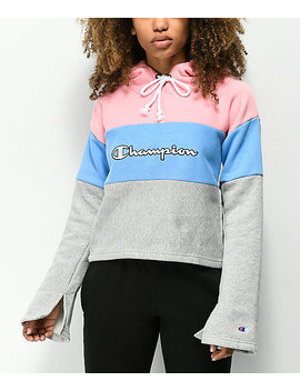 Champion Pink & Blue Reverse Weave Crop Hoodie by Champion