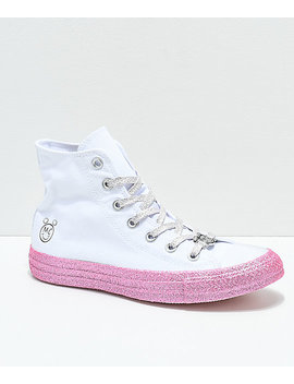 Converse X Miley Cyrus White & Pink Glitter High Top Shoes by Converse