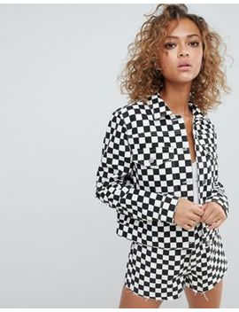 Asos Design Denim Jacket In Checkerboard Print by Asos Design