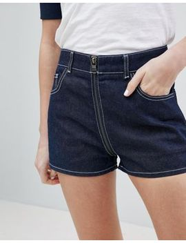 Asos Design Denim Short In Indigo With Zip Through Detail by Asos Collection