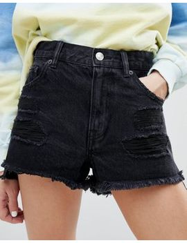 Pull&Bear Frayed Edge Ripped Denim Shorts by Pull&Bear