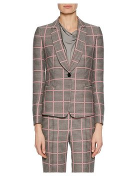 Notched Collar One Button Plaid Classic Jacket by Giorgio Armani
