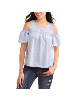 Juniors' Cold Shoulder Pearl Embellished Poplin Blouse by No Comment