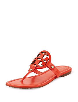 Miller Leather Logo Sandal, Poppy Red by Neiman Marcus