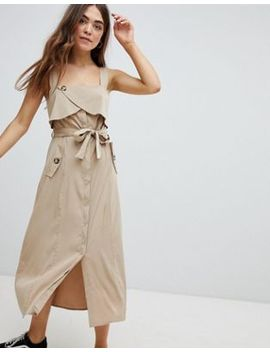 Bershka Utility Dress In Beige by Bershka