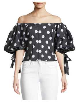 Nella Off The Shoulder Polka Dot Print Top by Caroline Constas