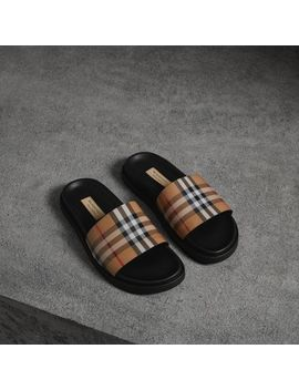 Vintage Check And Leather Slides by Burberry