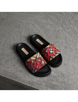 Graffiti Print Vintage Check And Leather Slides by Burberry