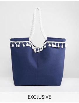 South Beach Navy Beach Bag With White Pom Poms by South Beach