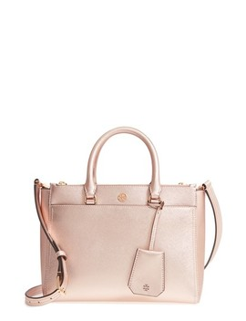 Small Robinson Double Zip Metallic Leather Tote by Tory Burch