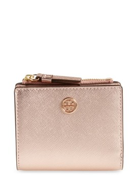 Robinson Metallic Leather Bifold Wallet by Tory Burch