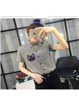 Gagarich Cute Cotton Short Sleeve Blusas Feminines Cats Printing On Turn Down Collar Blouse Chest Animal Pattern Tops Femal 0240 by Gagarich