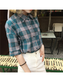 Gagarich Harajuku Style Summer Plaid Print T Shirt Cotton Short Sleeve Sweet Ladies Women Tops Turn Down Collar Top Tee 0242 by Gagarich