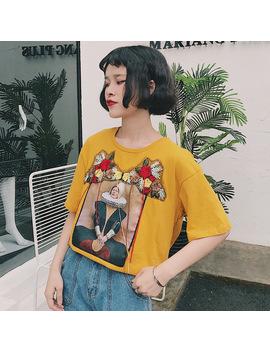 Tee Shirt Femme 2018 Spring Summer Tops Korean Ulzzang Harajuku Floral Tassel Patch T Shirt Women Casual Short Sleeve T Shirts by You Ge Man