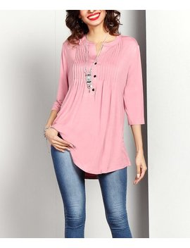 Mauve Notch Neck Pin Tuck Tunic   Women by Reborn Collection