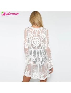 Esdamier Black White Sexy Sheer Lace Dress Beach Mesh Hollow Out Crochet Women Dress Long Sleeve Summer Boho Dress For Women by Esdamier E