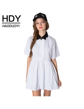 Hdy Haoduoyi Fashion Pleated Mini Dress Women Short Sleeve Female A Line Dress Preppy Style Sweet White Casual Dress Vestidos by Haoduoyi
