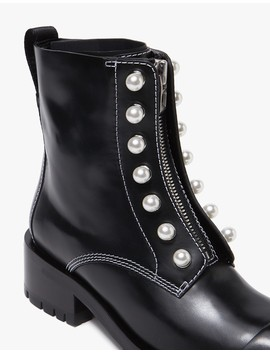 Hayett Lug Sole Zipper Boot With Pearls by Need Supply Co.