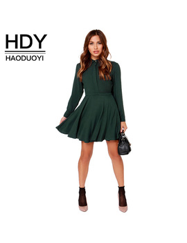 Hdy Haoduoyi Fashion Ruffles Mini Dress Women Long Sleeve Slim Female A Line Shirt Dress Bf Style Bodycon Dress Vestidos by Haoduoyi