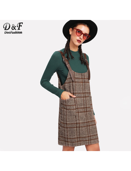 Dotfashion Tartan Plaid Buckle Detail Overall Dress 2018 Spring Women Pinafore Twin Pocket Dress Khaki Shift Sleeveless Dress by Dotfashion