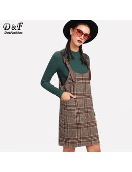Dotfashion Tartan Plaid Buckle Detail Overall Dress 2018 Spring Women Pinafore Twin Pocket Dress Khaki Shift Sleeveless Dress by Dotfashion