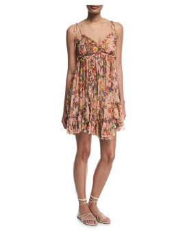 Lovelorn Floral Print Sleeveless Mini Dress by Zimmermann
