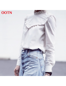 Ootn Women Long Sleeve Bouse White Ruffled Tunic Shirts Female Spring Winter Clothes Fashion Top Turtleneck Cotton Streetwear by Ootn