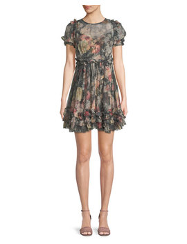 Sunny Floral Print Silk Chiffon Mini Dress W/ Ruffled Trim by Zimmermann