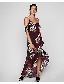 Petite Floral Ruffle Cold Shoulder Maxi Dress by Express