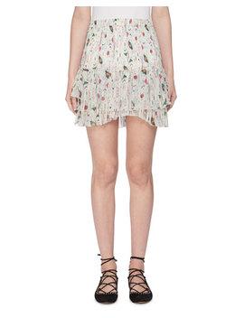 Earley Elastic Waist Printed Silk Chiffon Skirt by Etoile Isabel Marant