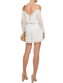Cold Shoulder Lace Trimmed Swiss Dot Silk Gauze Playsuit by Zimmermann