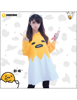 New Gudetama Hoodie Anime Cosplay Coat Casual Women And Girls Clothes Zipper Sweatshirt by Cuscosplay
