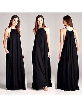 Beach Gypsy Boho Super Flowy Halter Neck Maxi Dress W/ Pockets Solid Black S L by Loving People