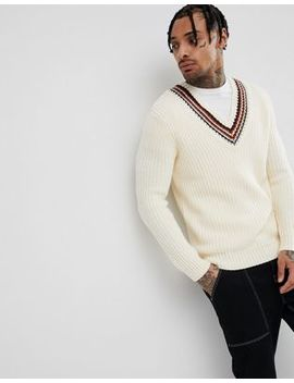 Asos Design Knitted V Neck Jumper With Stripes In Beige by Asos Design