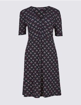 Floral Print Jersey Half Sleeve Tea Dress by Marks & Spencer