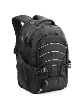 Evecase Backpack Universal Professional Nylon With Rain Cover For Cameras And Laptop Up To 39.6 Cm (15.6 Inches)   Black With Green Line by Amazon