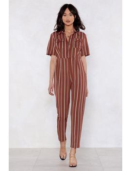 You Are Utility Beatiful Babe Striped Jumpsuit by Nasty Gal